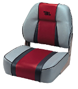 Wise Designer Mid-Back Boat Seat (Grey/Red/Charcoal)